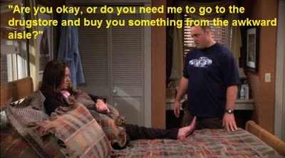 king of queens carrie's period, king of queens doug, king of queens, quotes, are you oka y or do you need me to buy you something from the awkward aisle?, tvland