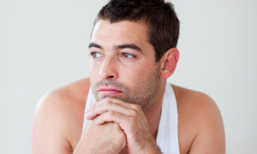 6 Signs You are Not Ready for Sex,man guy handsome wearing underwear white thinking confused sad