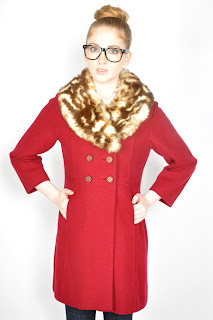 Vintage 1960's oxblood red wool peacoat with leopard print rabbit fur collar.