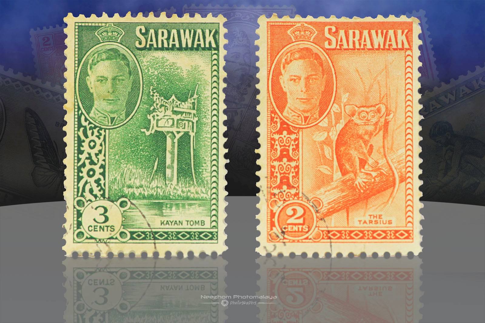 Setem Sarawak 3 Cents Kayan Tomb, 2 Cents The Tarsius 1950
