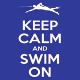 reflex blue Keep Calm and Swim On Art Print