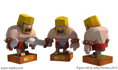 Papercraft model clash of Clans barbarian