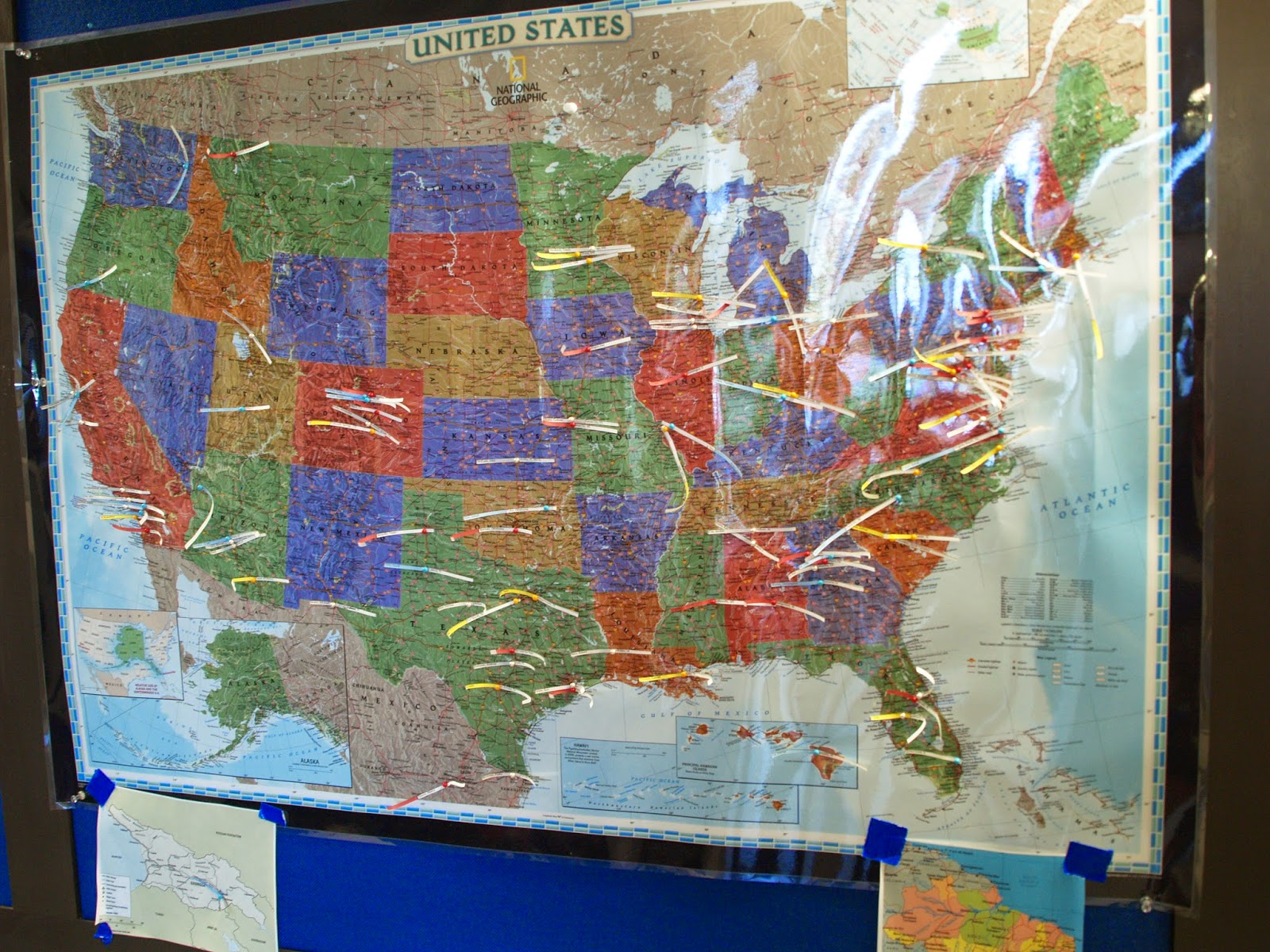 a map of the us in our squadron with all the hometowns of the cadets