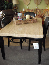 Dining Table Java Finish w Marble Top