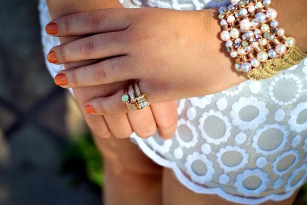 acessórios - pulseira de anéis - pérola