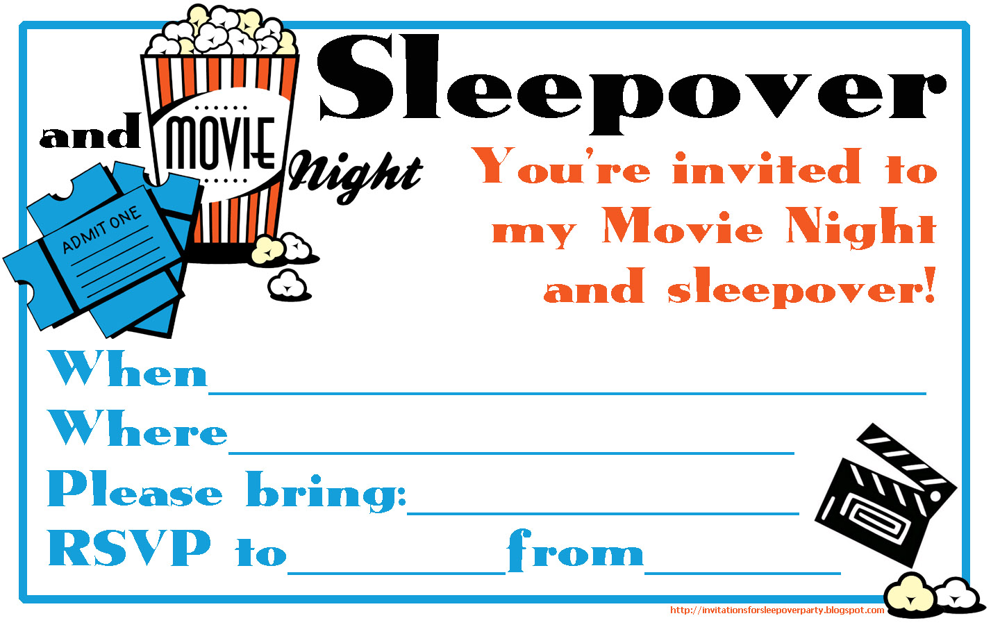 Movie Birthday Party Invitations Printable