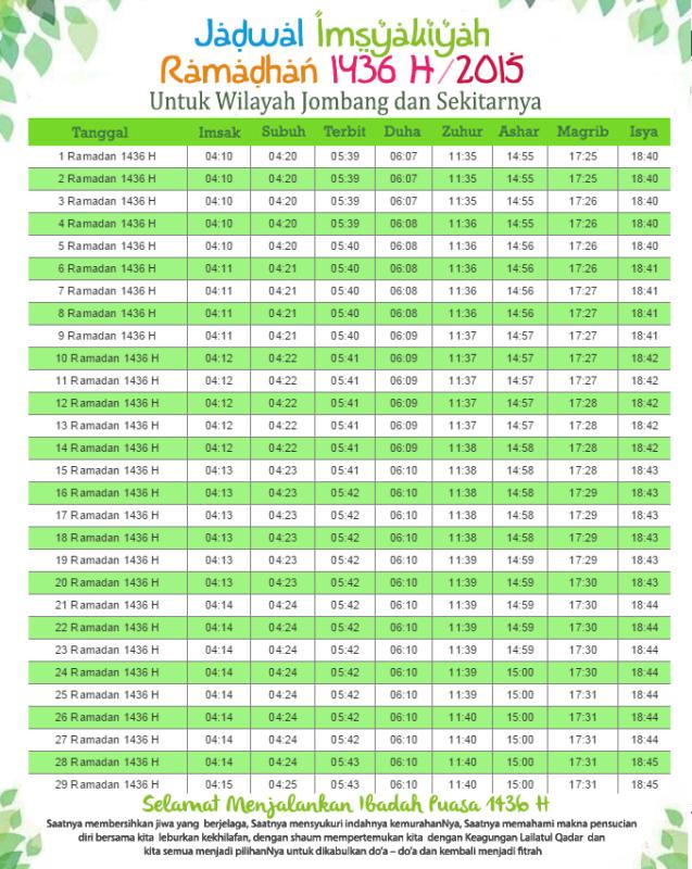 Jadwal Imsakiyah Ramadhan  Untuk Wilayah Jombang Sekitarnya