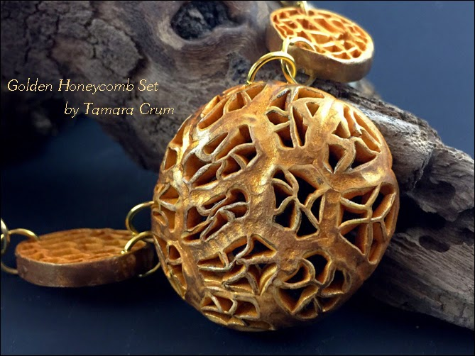 Polymer clay openwork jewelry set by Tamara Crum