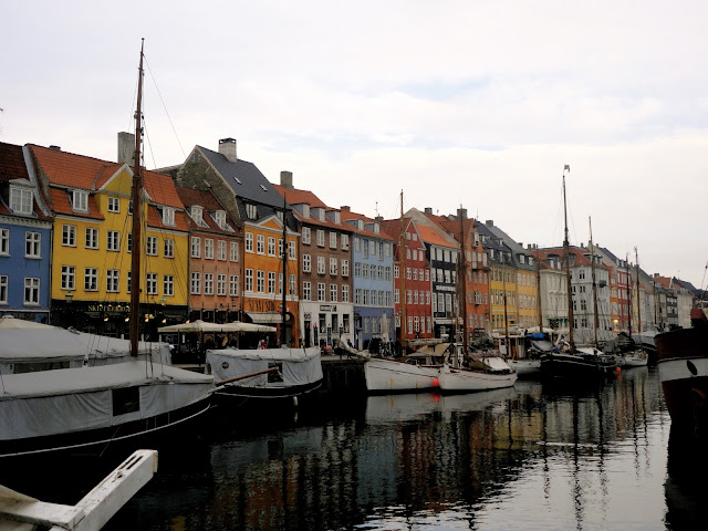 Coloured houses and boats in the harbour of Nyhavn, Copenhagen, Denmark