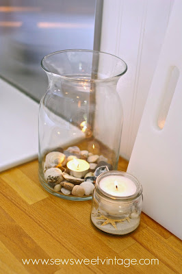 sea shell candles and jar candles