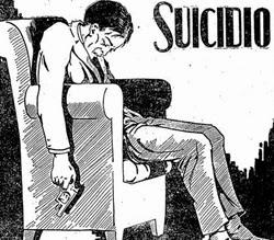 Propaganda do medicamento Urotropina com cena de suicídio.