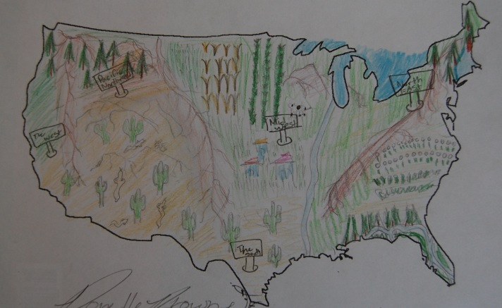 Student Work Physical Map Of The United States