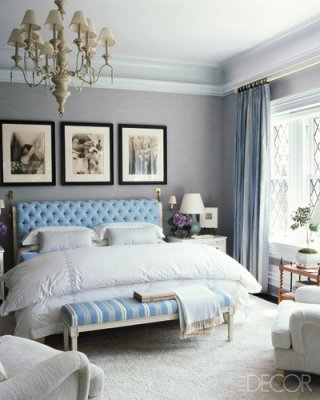 Modern english tudor style new home design Master bedroom light blue walls