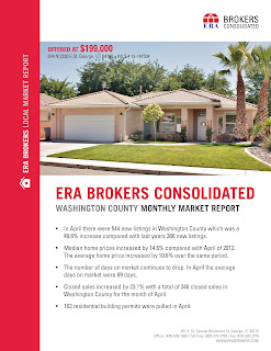 ERA Brokers Consolidated recently published its April 2013 Monthly Market Report covering an update for Washington County. The market report provides statistics of home prices, building permits and compares them with last years numbers for Washington County.