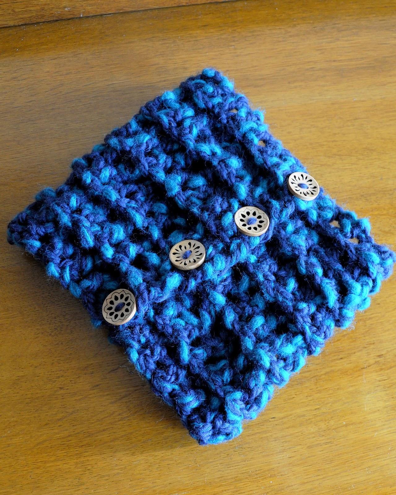 blue crochet button scarf