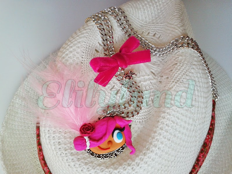Collar Muñeca fimo Rosa Arcilla Polimérica Elily Camafeo Lazo Terciopelo