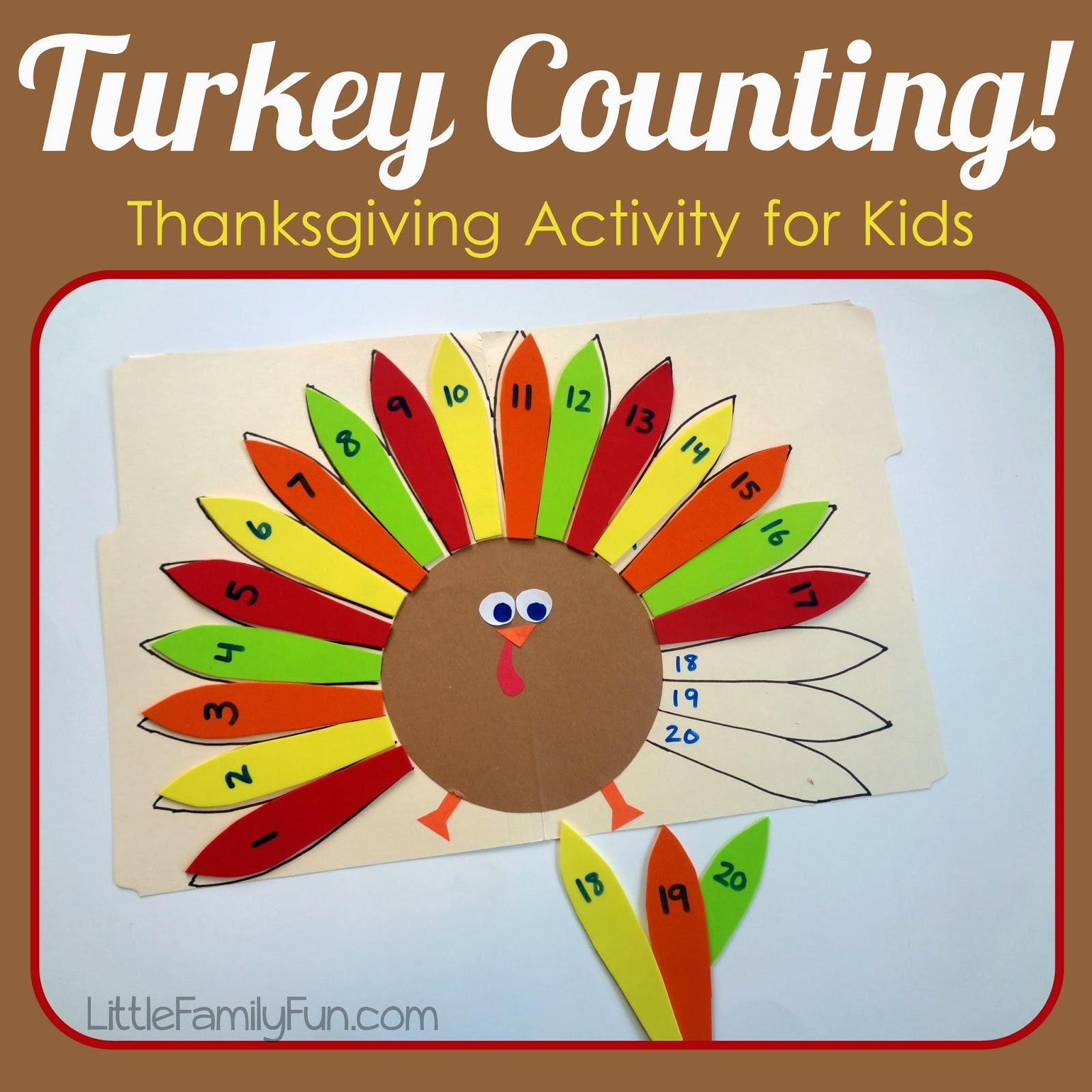 Little family fun counting turkey feathers Fun family thanksgiving games