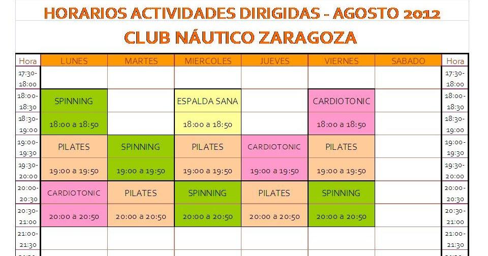 Club n utico zaragoza horario actividades dirigida gym en - Club nautico zaragoza ...