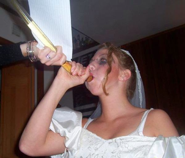bride jugging beer