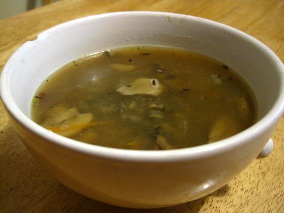Soupe aux bolets et au riz sauvage