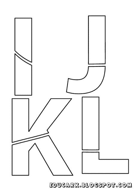 Modelo de letras para cartaz i j k l