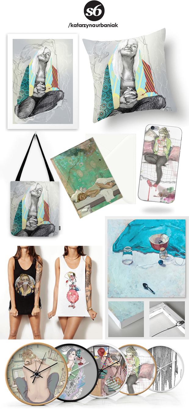 society6-urbaniak-ilustracja-nadruki-obrazy paintings print tshirts bags pillows clocks illustration