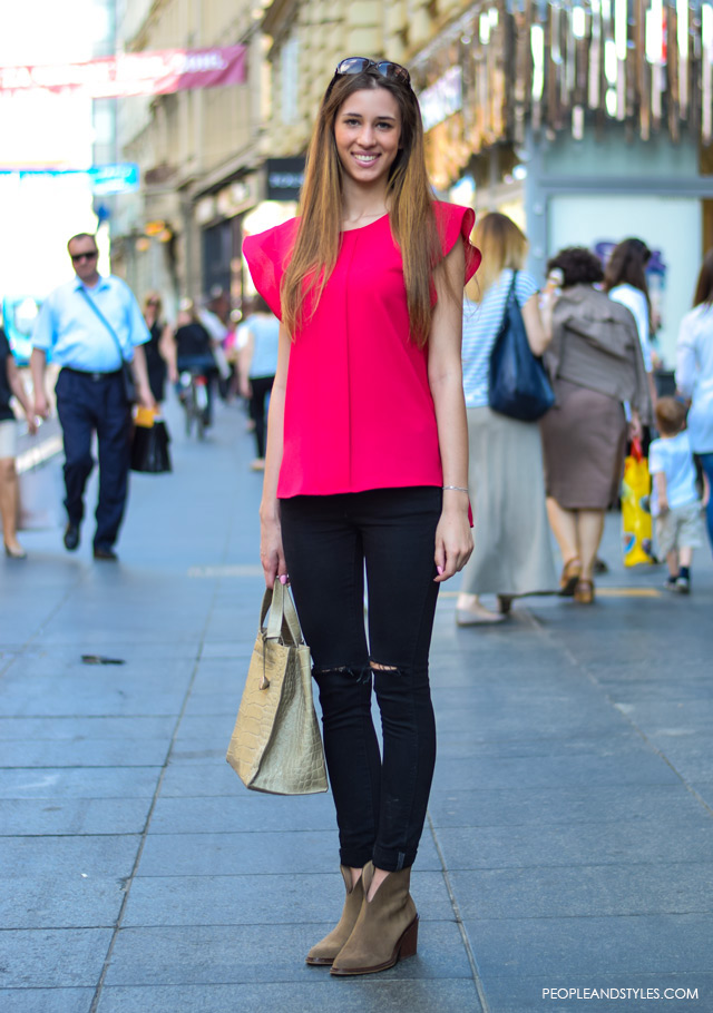 Zagreb street style 2015, How to wear slashed knee jeans and ankle boots, street style summer outfit inspiration, Dora Drkula