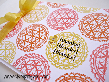 Doily background in three fun & flirty colors by Stampin' Up!