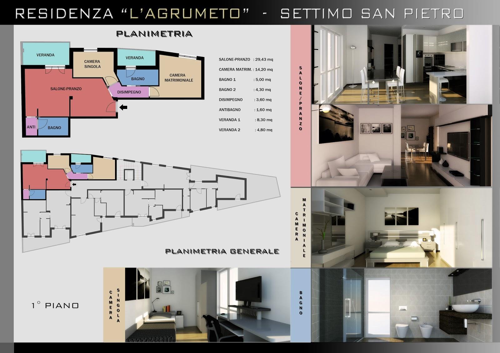 Appartamento 5 B1 Salone Pranzo: 29,43 Mq. Camera Matrim.: 14,20 Mq. Bagno  1: 5,00 Mq. Bagno 2: 4,30 Mq. Disimpegno: 3,60 Mq. Antibagno: 1,60 Mq