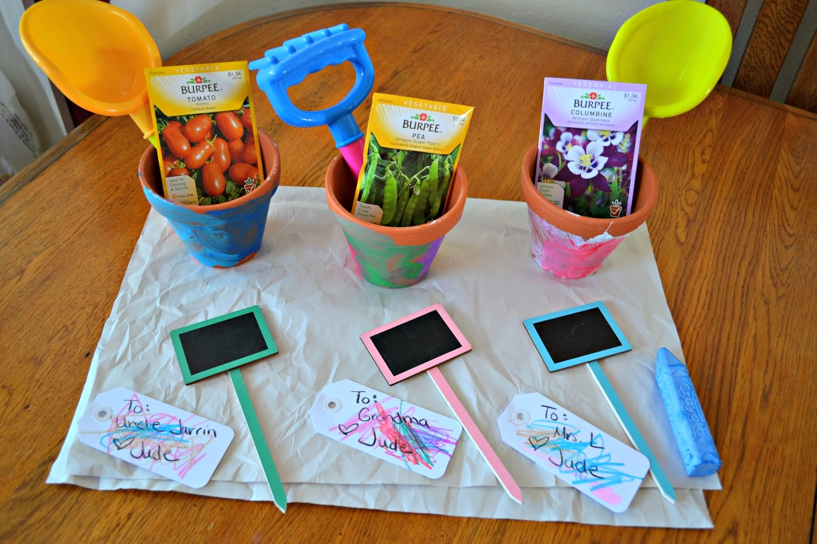 Gardening Gift Basket Ideas this 60 garden hose basket is filled with gardening goodies both for the garden and Creating A Colorful Garden Gift Basket Using Crayola Crayons And Sidewalk Chalk Colorfulcreations Shop Building Our Story