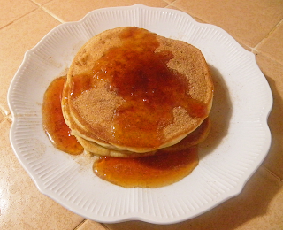 Plate of Pancakes with Cinnamon-sugar and Golden Syrup