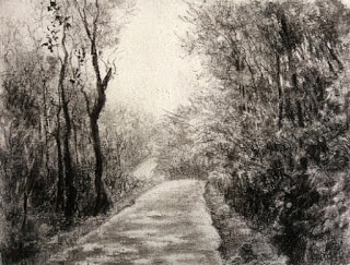 Charcoal painting of a Coorg landscape on Fabriano Academia paper, By Manju Panchal