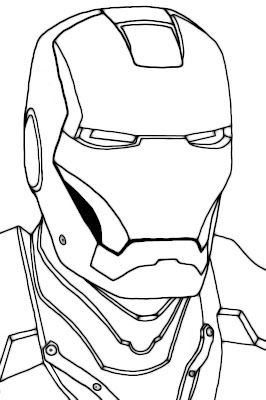 Mascara de Iron Man para colorear y pintar ~ 4 Dibujo