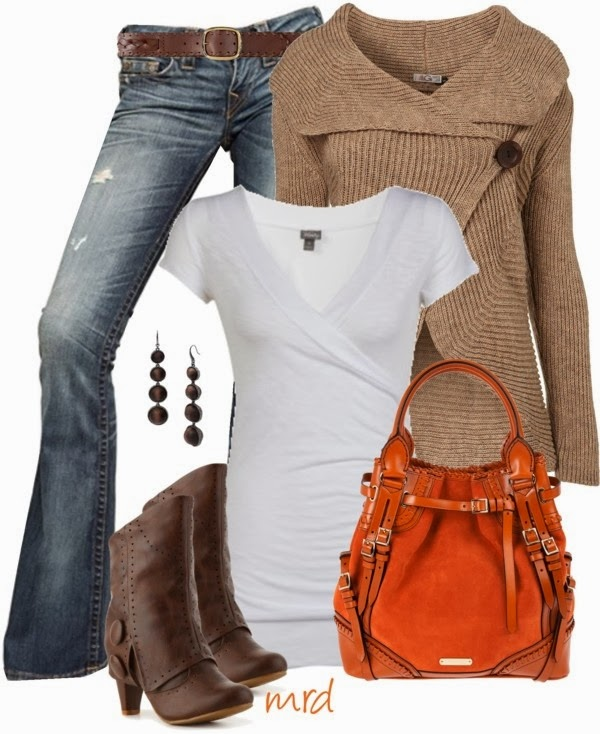 Adorable brown cardigan, jeans, white blouse, long boots and orange handbag for fall