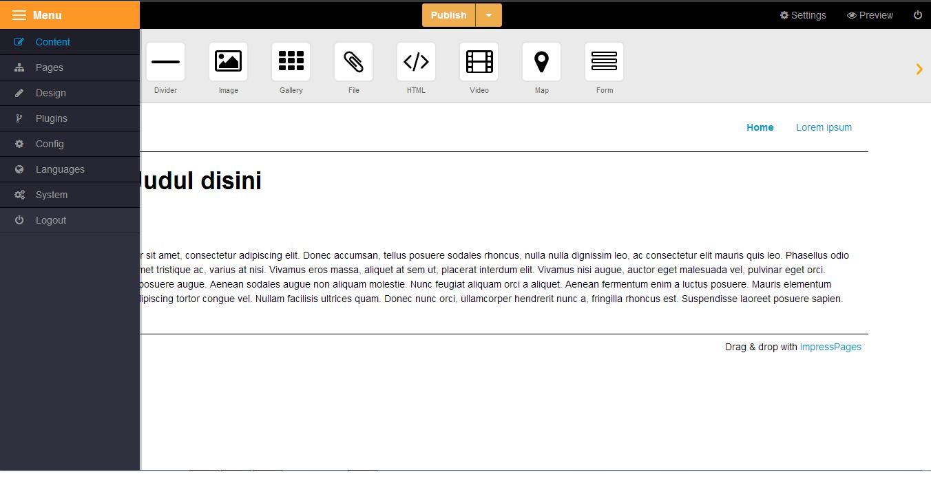 Software Pembuat website dan toko online impress page