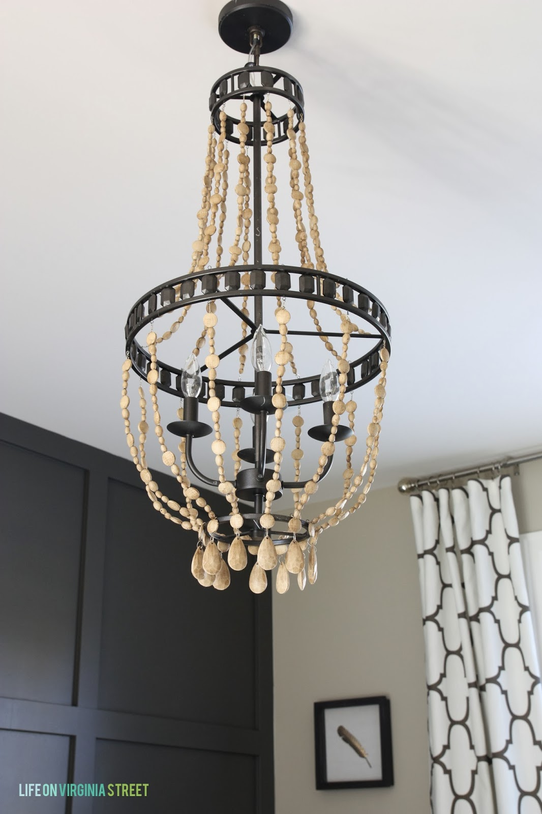 how to make a diy wood beaded chandelier - Wood Bead Chandelier