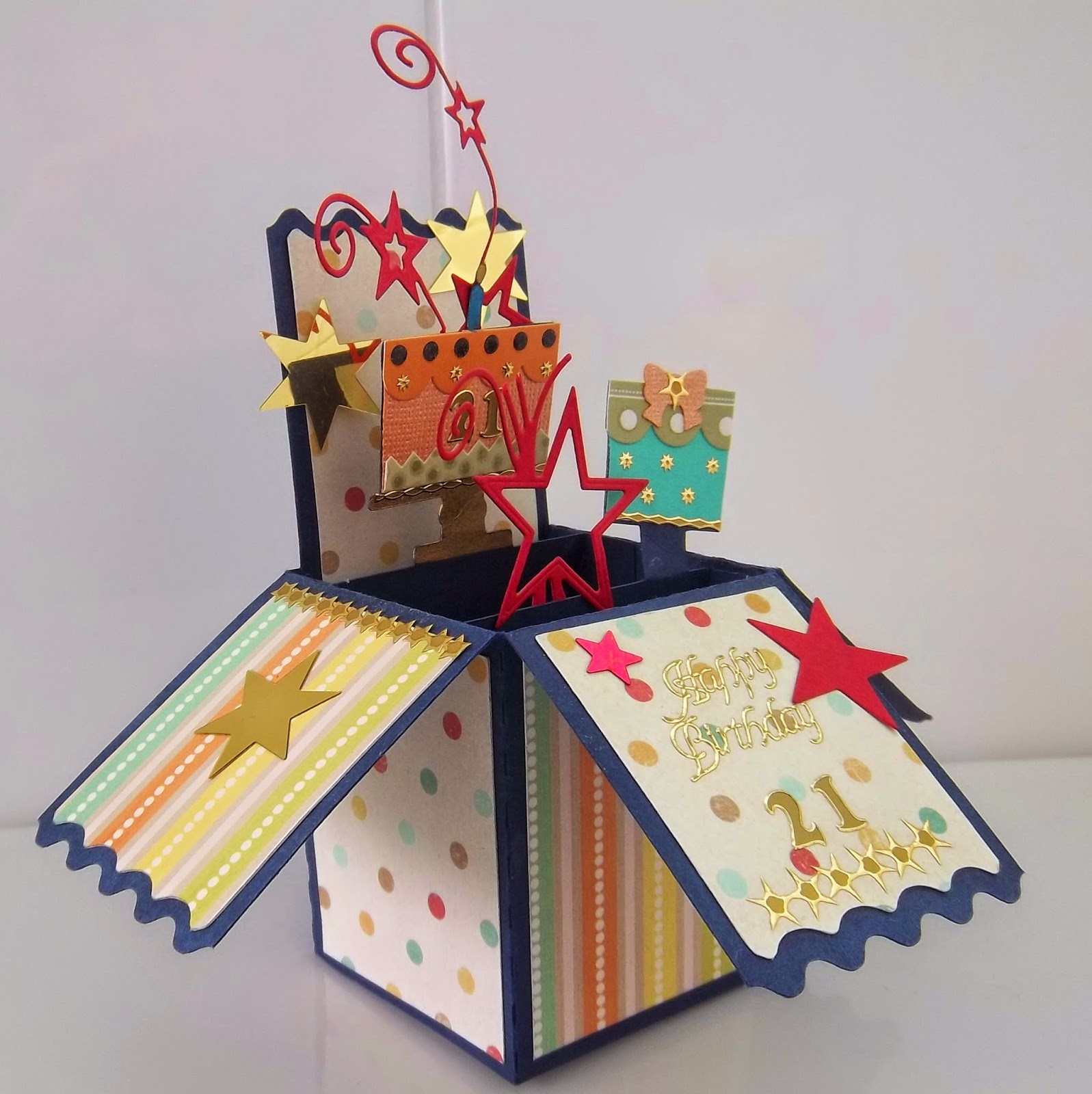 "cute critter cards : pop up box card ""21st Birthday """