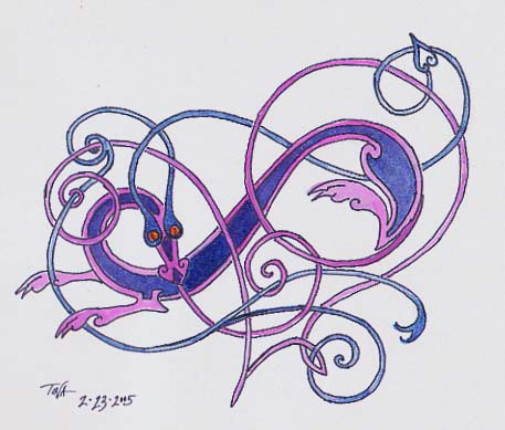 Stylized celtic inspired dragon in pink and blue, © 2005 Tina M Welter