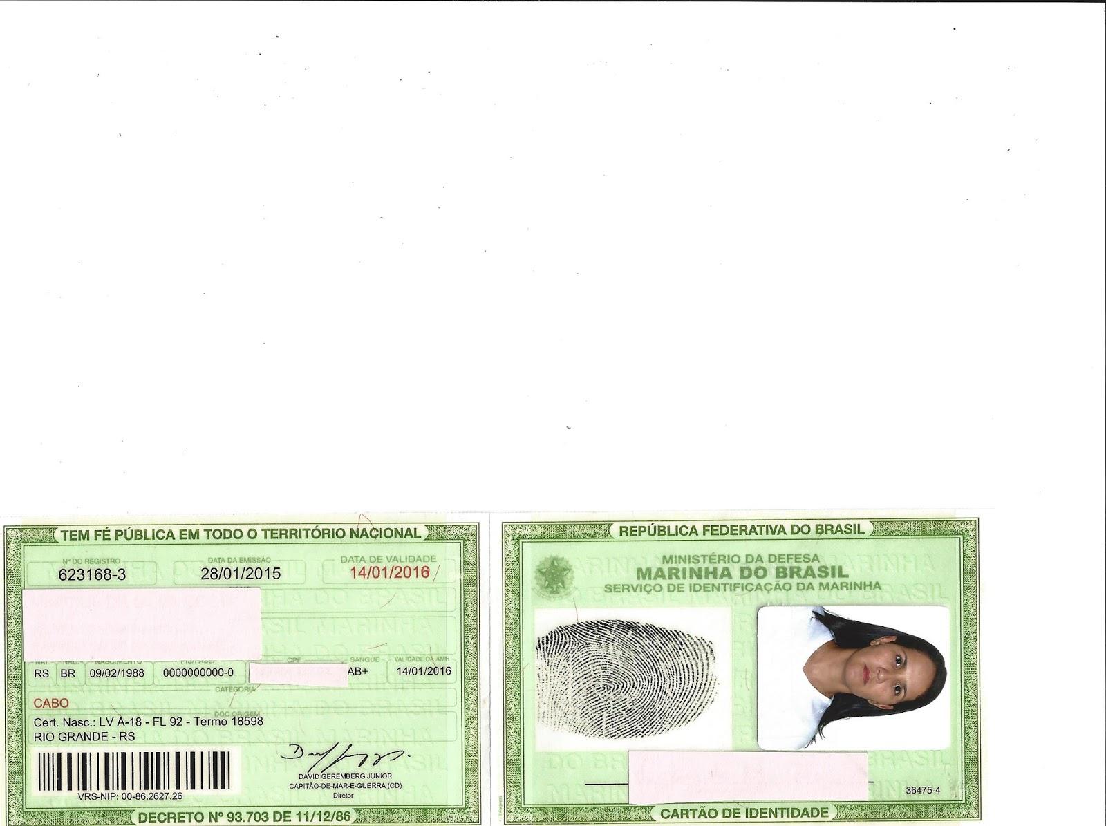 17ce9813e3853 Carteira de Identidade Militar da Marinha do Brasil