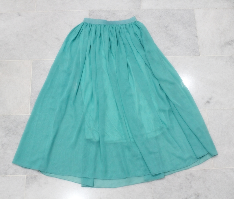 mint sea green maxi chiffon skirt