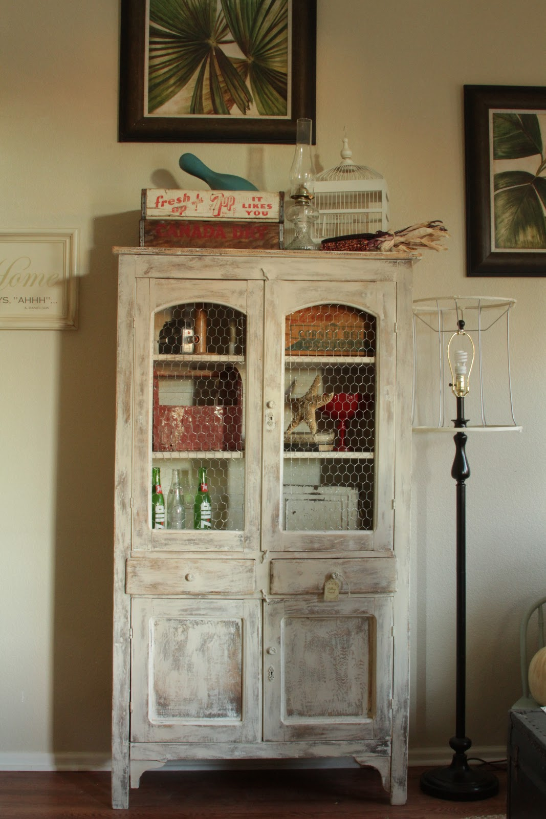 Heck, I love the outcome!!! What do ya think? I think it turned out pretty  darn cute and I am so glad it's in my house! :) - Willow Creek: Antique Pie Safe Cupboard