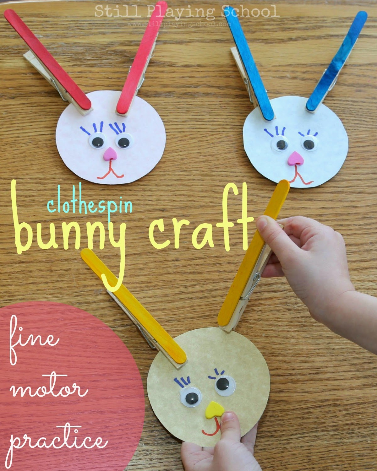 Clothespin bunnies still playing school for Simply crafts