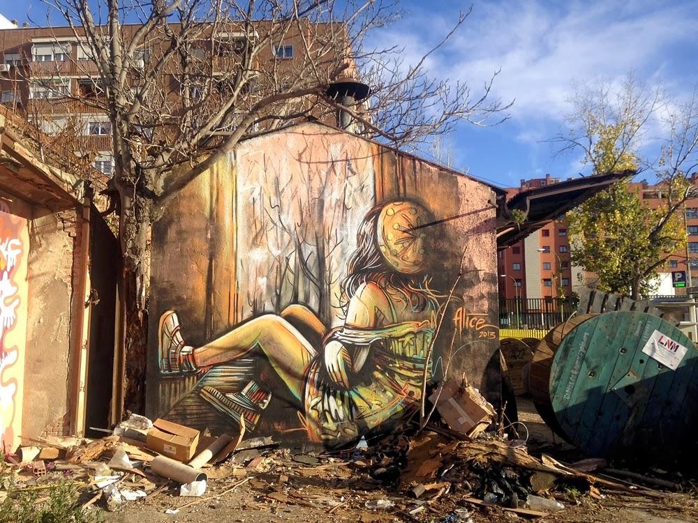 Alice new mural at la neomudejar de atocha madrid spain for Mural street art
