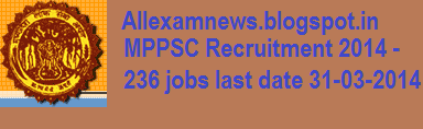 MPPSC Recruitment 2014 Released Notification for 236 Vacancies