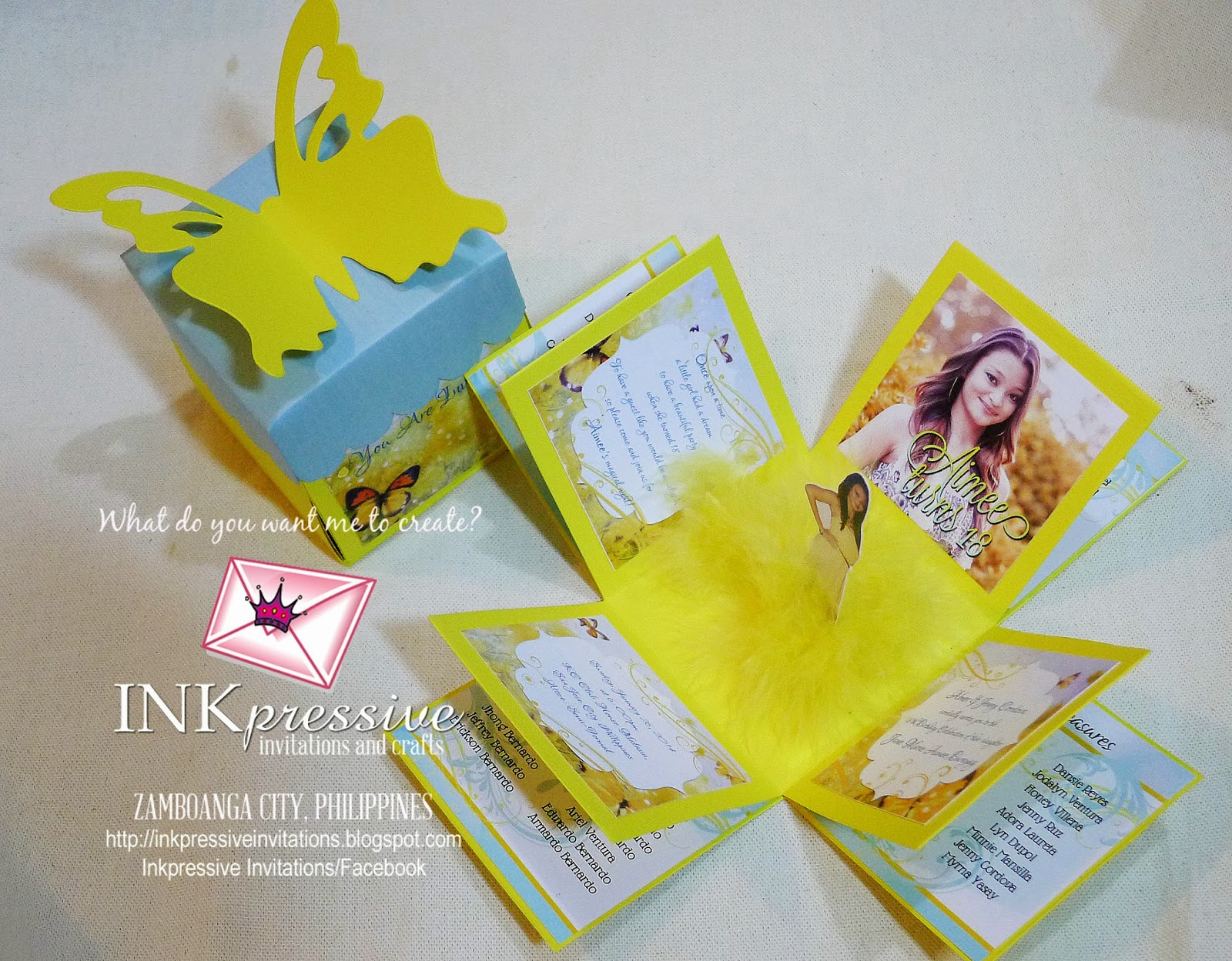 Exploding box photo standee centerpiece debut yellow for Table design for debut