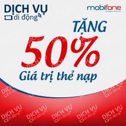 Khuyến mãi 50% giá trị thẻ nạp trong 02 ngày 11,12/02/2015 Mobifone