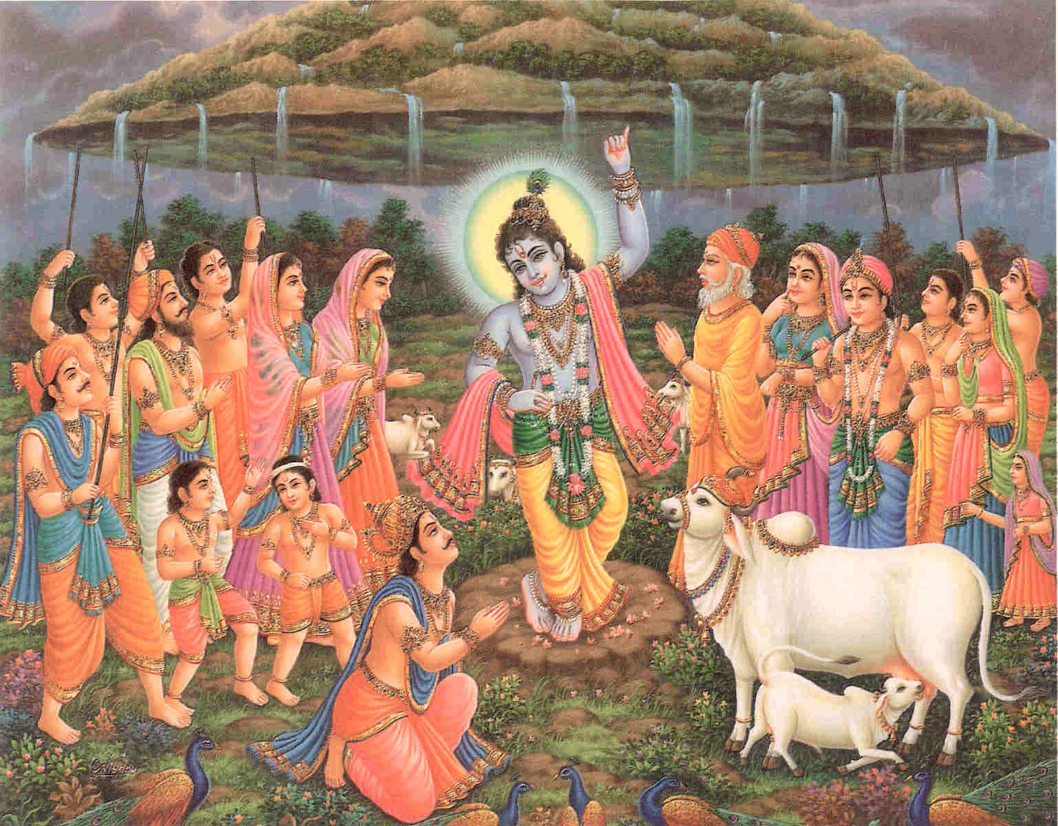 Krishna lifts mountain Govardhana