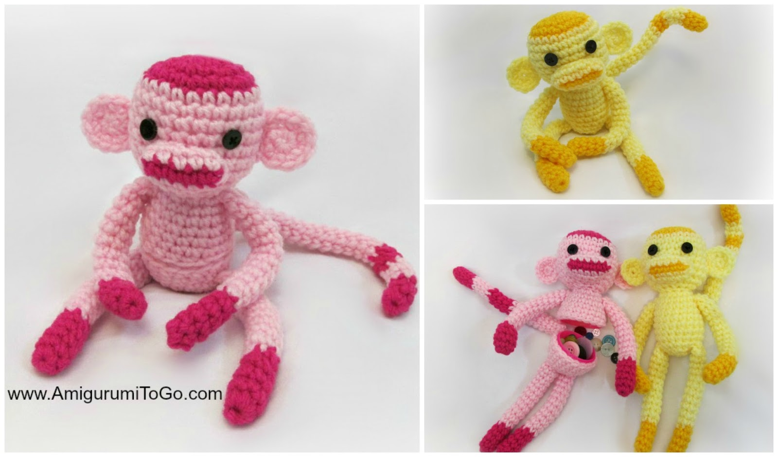 Amigurumi Tutorials : Rosey The Monkey and Friends With Egg and Without ...
