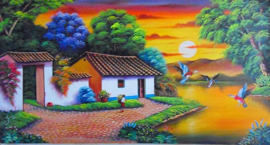 cuadros decorativos de paisajes para sala car interior