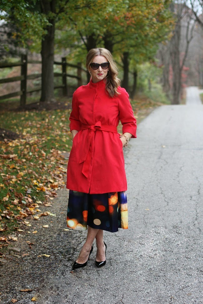 jcrew tippi sweater, chicwish midi skirt, chicwish red coat, nordstrom earrings, christian louboutin heels, ysl lipgloss, saint laurent sunglasses